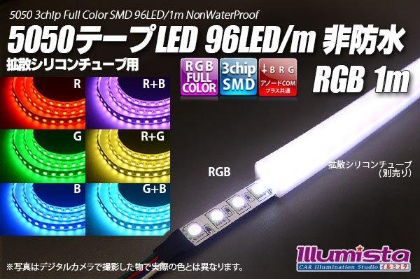 画像1: 5050テープLED 96LED/m 非防水 RGB 1m (1)
