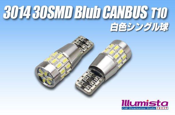 画像1: Canbus 3014 30SMD T10バルブ 白色 (1)